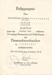 10./Inf.Rgt.70 VWA Award Document