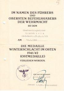 Stbbattr.IV./Art.Rgt.129 Ostmedaille Award Document