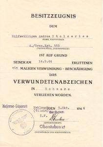 Gren.Rgt.553 VWA Award Document (Hiwi)