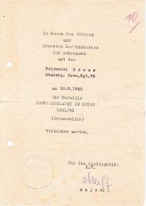 Stabskp.Gren.Rgt. 78 Ostmedaille Award Document