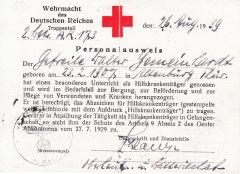 Wehrmacht Hilfskrankenträger Personalausweis (A.R.173)