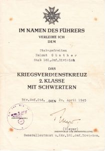 Stab.181.Inf.Div. KVKII Award Document (1945)