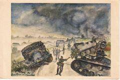 Panzer Sketch Postcard 1943