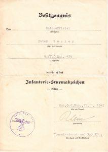 9./Inf.Rgt.439 ISA Award Document
