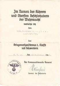 s.Art.Abt.735 KvKII Award Document 1941 (Mörser)