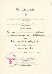 5./Pz.Art.Rgt.128 VWA Award Document