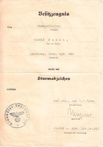 Lehrkp.Gr.Rgt.482 All.Sturmabz. Award Document