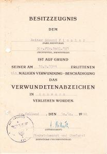 Div.Füs.Batl.121 VWA Award Document