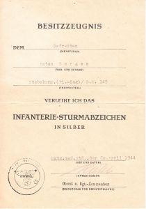 Stkp.(Pi-Zug)/Gren.Rgt.145 ISA Award Document