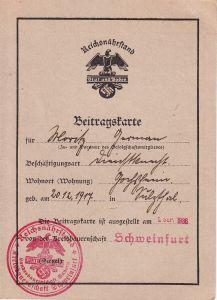 Reichsnährstand Beitragskarte