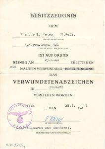 5./Gren.Rgt.521 VWA Award Document (1944)
