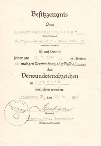 Verf-Komp./Inf.Ers.Btl.36 VWA Award Document