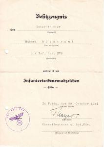 1./Inf.Rgt.379 Inf.Sturmabz. Award Document