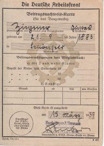 DAF Beitragsnachweis-Karte 1939