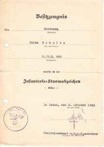 2./Inf.Rgt.668 ISA Award Document