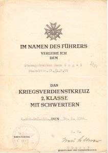 Stabsbttr.A.R.86 KVKII Award Document (1944)