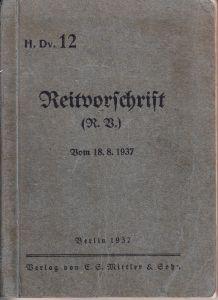 Wehrmacht 'Reitvorschrift' Book 1937