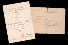 1./Bau-Btl.141 KvKII Award Document