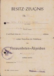 Feld.Ers.Btl.20 VWA Award Document (1945)
