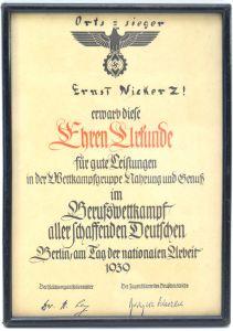 Framed Berufswettkampf Award Document